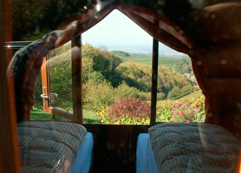 Os hóspedes que ficam dentro de um barril de vinho em Schlafen im Weinfass são tratados com esta vista maravilhosa